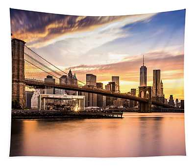 Brooklyn Bridge At Sunset  Tapestry