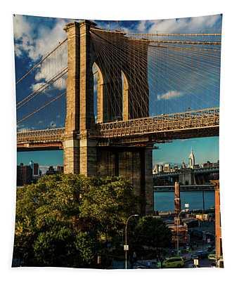 Brooklyn Bridge At Sunset, Ny Ny - Tapestry