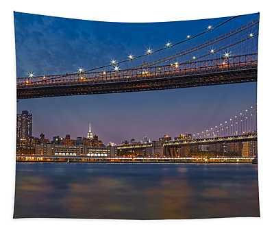 Brooklyn Bridge Frames Manhattan Tapestry