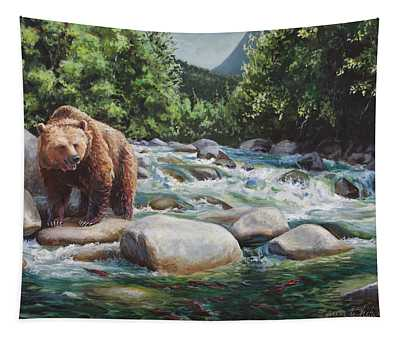 Brown Bear And Salmon On The River - Alaskan Wildlife Landscape Tapestry