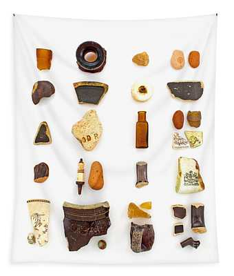 Brown China And Amber Sea Glass Tapestry