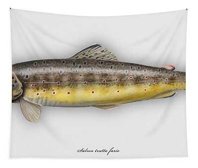 Brown Trout - Salmo Trutta Morpha Fario - Salmo Trutta Fario - Game Fish - Flyfishing Tapestry