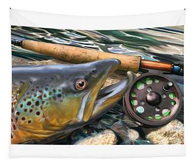 Brown Trout Sunset Tapestry
