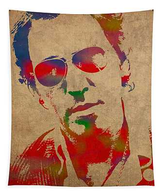 Bruce Springsteen Watercolor Portrait On Worn Distressed Canvas Tapestry