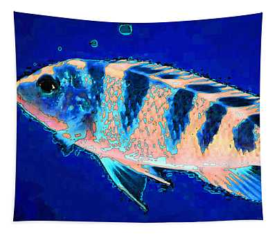 Bubbles - Fish Art By Sharon Cummings Tapestry