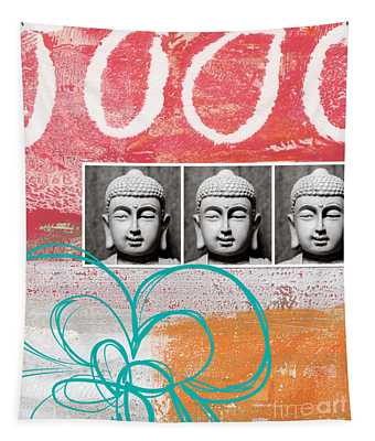 Buddha With Flower Tapestry