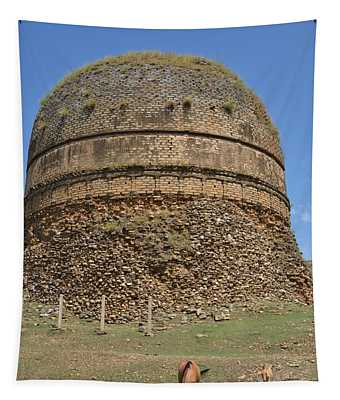 Buddhist Religious Stupa Horse And Mules Swat Valley Pakistan Tapestry