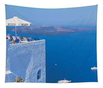 Building On Water, Boats, Fira Tapestry