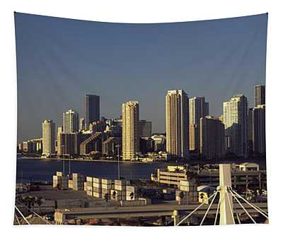 Buildings In A City, Miami, Florida, Usa Tapestry