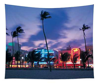 Buildings Lit Up At Dusk, Miami Tapestry