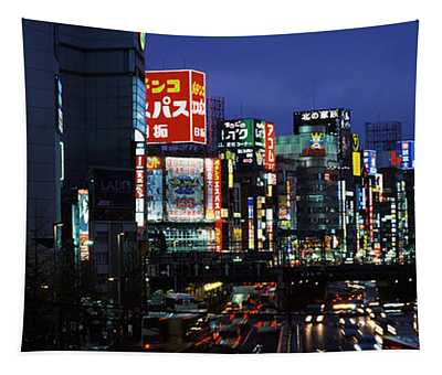 Buildings Lit Up At Night, Shinjuku Tapestry
