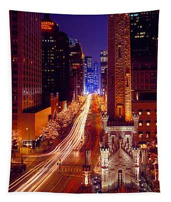 Buildings Lit Up At Night, Water Tower Tapestry