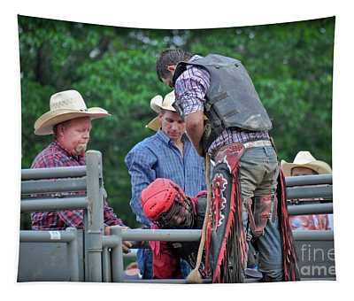 Tapestry featuring the photograph Bull Ride Ready by Gary Keesler