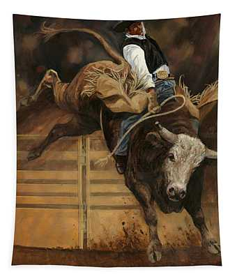 Bull Riding 1 Tapestry