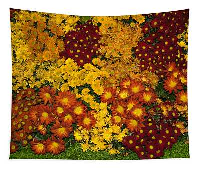 Bunches Of Yellow Copper Orange Red Maroon - Hot Autumn Abundance Tapestry