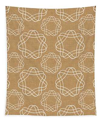 Burlap And White Geometric Flowers Tapestry
