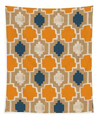 Burlap Blue And Orange Design Tapestry