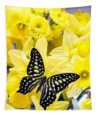 Butterfly Among The Daffodils Tapestry