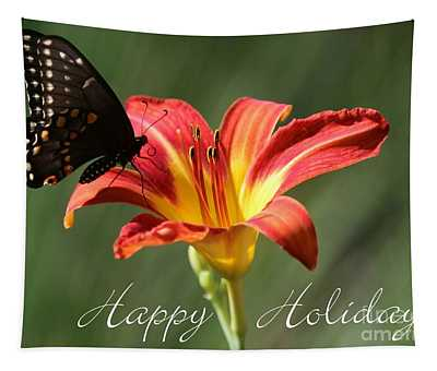 Butterfly And Lily Holiday Card Tapestry