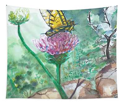 Butterfly On Flower  Tapestry