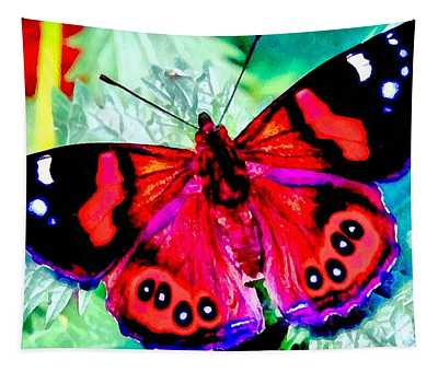 Butterfly Red White And Blue Tapestry