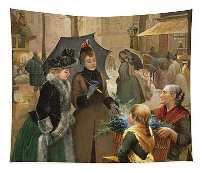 Buying Flowers, 19th Century Tapestry