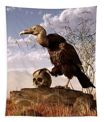 Buzzard With A Skull Tapestry