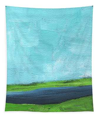 By The River- Abstract Landscape Painting Tapestry