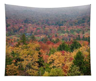 Cabin In Vermont Fall Colors Tapestry