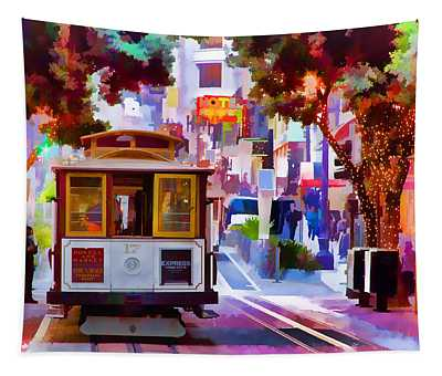 Cable Car At The Powell Street Turnaround Tapestry