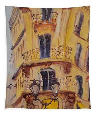 Cafe Le Palmier, 2010 Oil On Canvas Tapestry