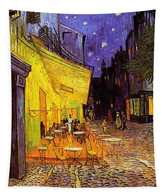 Cafe Terrace At Night Tapestry