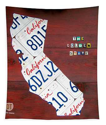 California License Plate Map Tapestry