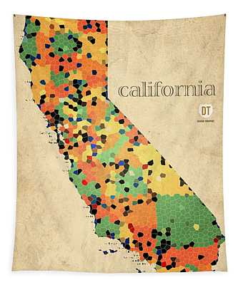 California Map Crystalized Counties On Worn Canvas By Design Turnpike Tapestry