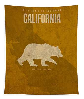 California State Facts Minimalist Movie Poster Art  Tapestry