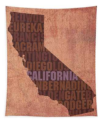 California Word Art State Map On Canvas Tapestry