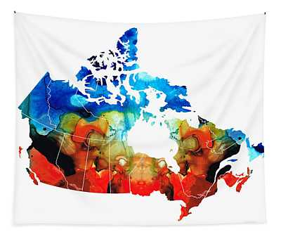 Canada - Canadian Map By Sharon Cummings Tapestry