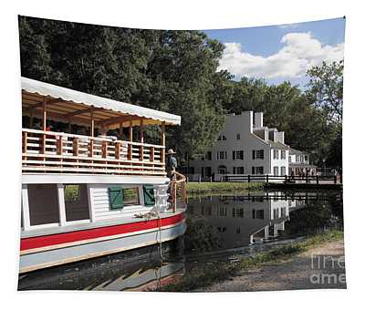 Canal Boat On The C And O Canal At Great Falls Tavern Tapestry