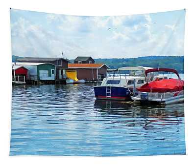 Canandaigua Fishing Shacks Tapestry