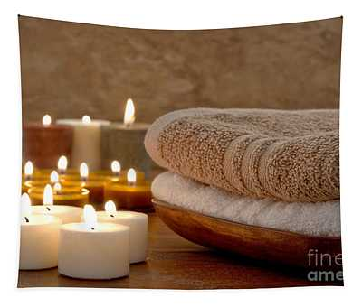 Candles And Towels In A Spa Tapestry
