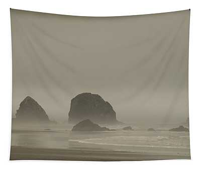 Cannon Beach In A Fog Oregon Tapestry