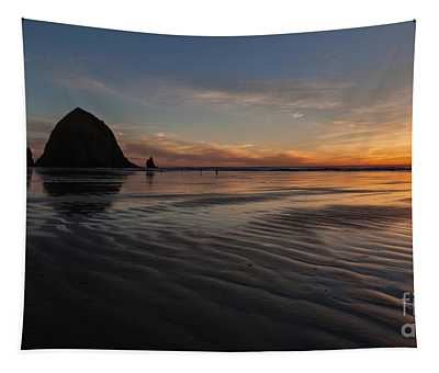 Cannon Beach Sunset Sand Waves Tapestry