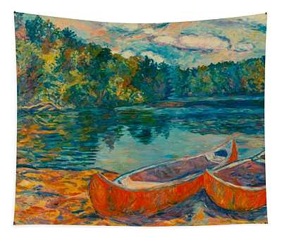 Canoes At Mountain Lake Tapestry