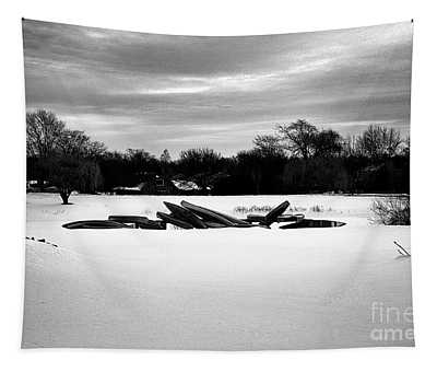 Canoes In The Snow - Monochrome Tapestry