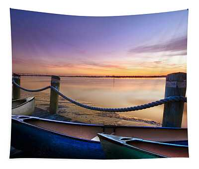 Canoes On The Dock Tapestry