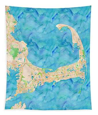 Tapestry featuring the digital art Cape Cod Watercolor Map by Joy McKenzie