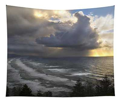 Sunset At Cape Lookout Oregon Coast Tapestry