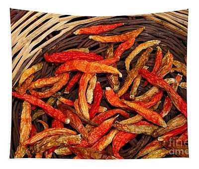 Capsicum Annuum Chilis In Basket Tapestry