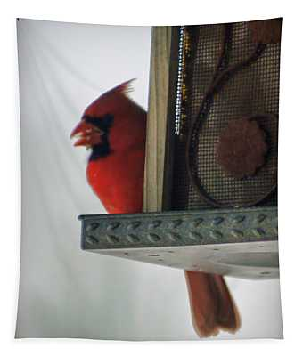 Cardinal At The Feeder Tapestry