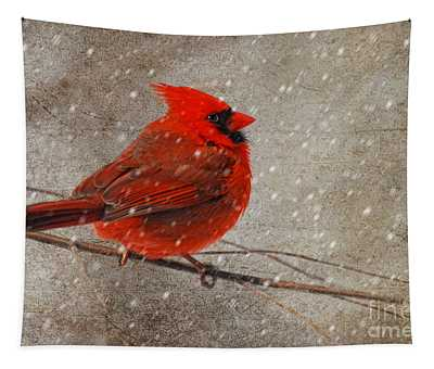 Cardinal In Snow Tapestry